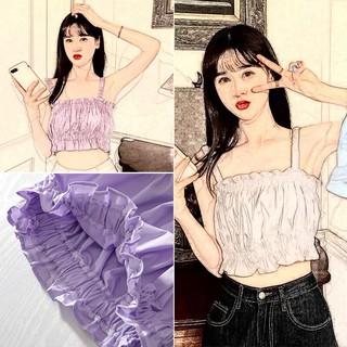 Áo Croptop 2 Dây SuzaHouse N07 Đũi 🦋 Áo Dây Thun Nữ Viền Bèo 2 Màu trắng tím siêu hot phong cách Hàn Quốc