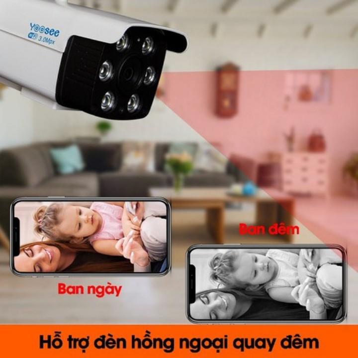 Camera Wifi Yoosee Ngoài Trời Xem Đêm Có Màu 6 Mắt ZQ26 , Chống Nước,Đàm Thoại 2 Chiều, Bảo Hành 2 Năm