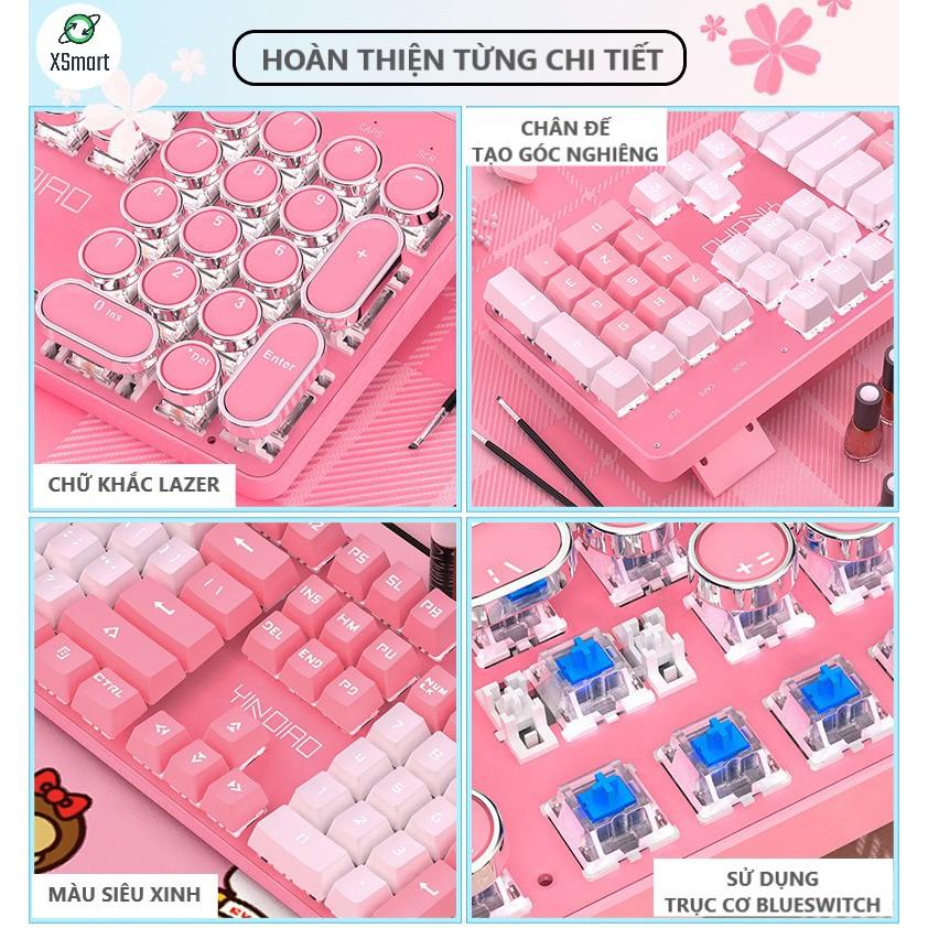 Bàn Phím Cơ HỒNG Cao Cấp T900 Led 10 Chế Độ Khác Nhau, Phím Cơ Blue Gaming Cho Máy Tính, Laptop, PC Cho Cả Nam Và Nữ