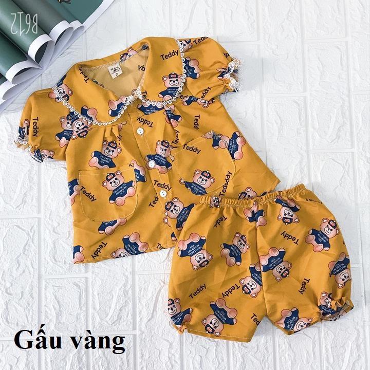 Combo 2 Bộ quần áo bé gái cổ cánh sen quần bồng vải thô lụa xuất xịn XHN210