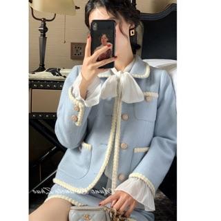 (Sẵn)Set Dạ Tweed Xanh Tiểu Thư