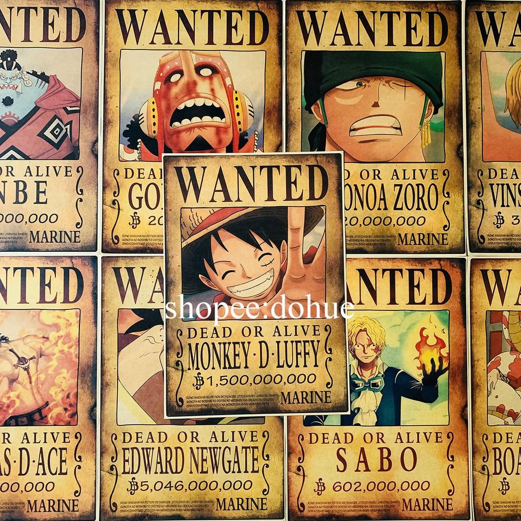 Poster Wanted Lệnh Truy Nã One Piece 36*51cm Giấy Áp Phích Craft Cứng Phong Cách Retro