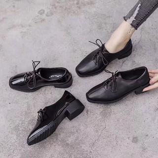 Giày nữ Oxford Derby DA BÓNG/ DA LÌ 4p cao cấp màu đen. Mẫu công sở dễ phối đồ có sẵn đủ size tại Hà Nội