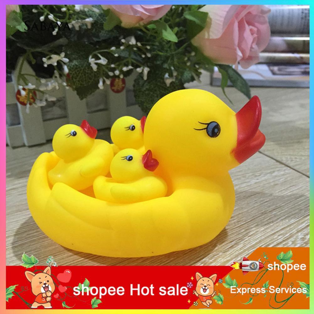 ♝♝♝4Pcs Baby Infants Bathing Swimming Floating Squeaky Ducks Fun Accompany Toys