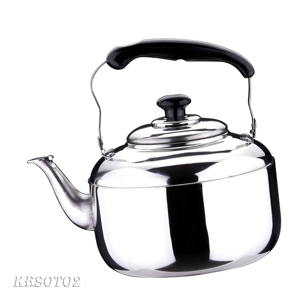 4L/5L/6L Stainless Steel Whistling Kettle kitchen/Home Camping Gas Hob,  Silver Tea Kettle with Whistle Sound