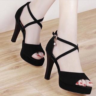 Giày cao gót 10 phân đế đúp 2 dây chéo LT (DP001)