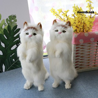 Mback_Realistic Cute Standing Fortune Cat Household Photography Props Car Decor Gift