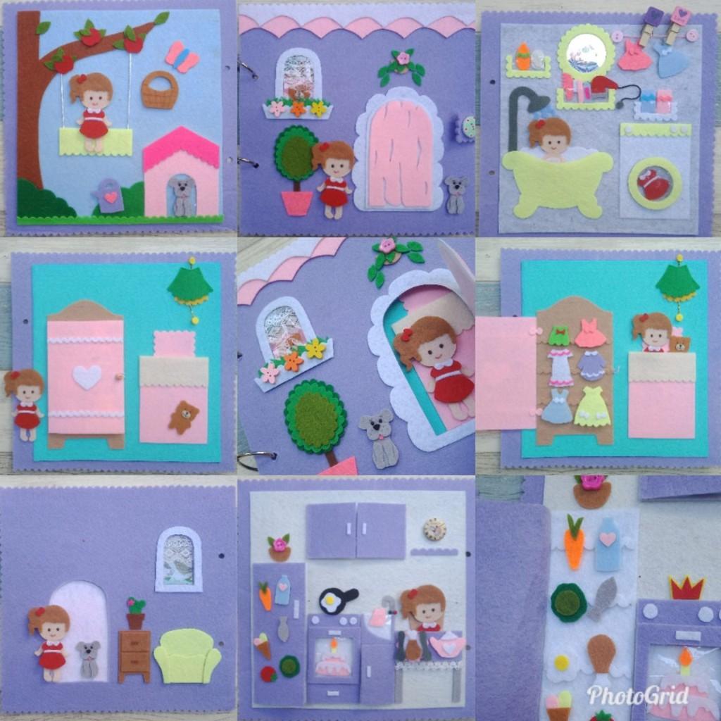 Sách vải ngôi nhà búp bê – Doll House quiet book (Hình thật 100%)