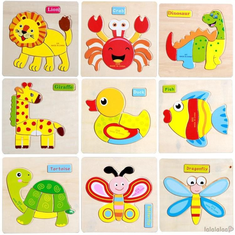 ❆☉❆Baby Educational Kids Children Intellectual Developmental Wooden Toy Puzzle