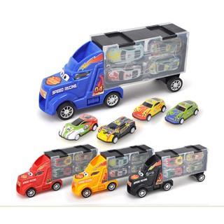 Bộ Đồ chơi Xe ô tô tải Container chở 4 Ô tô con cao cấp