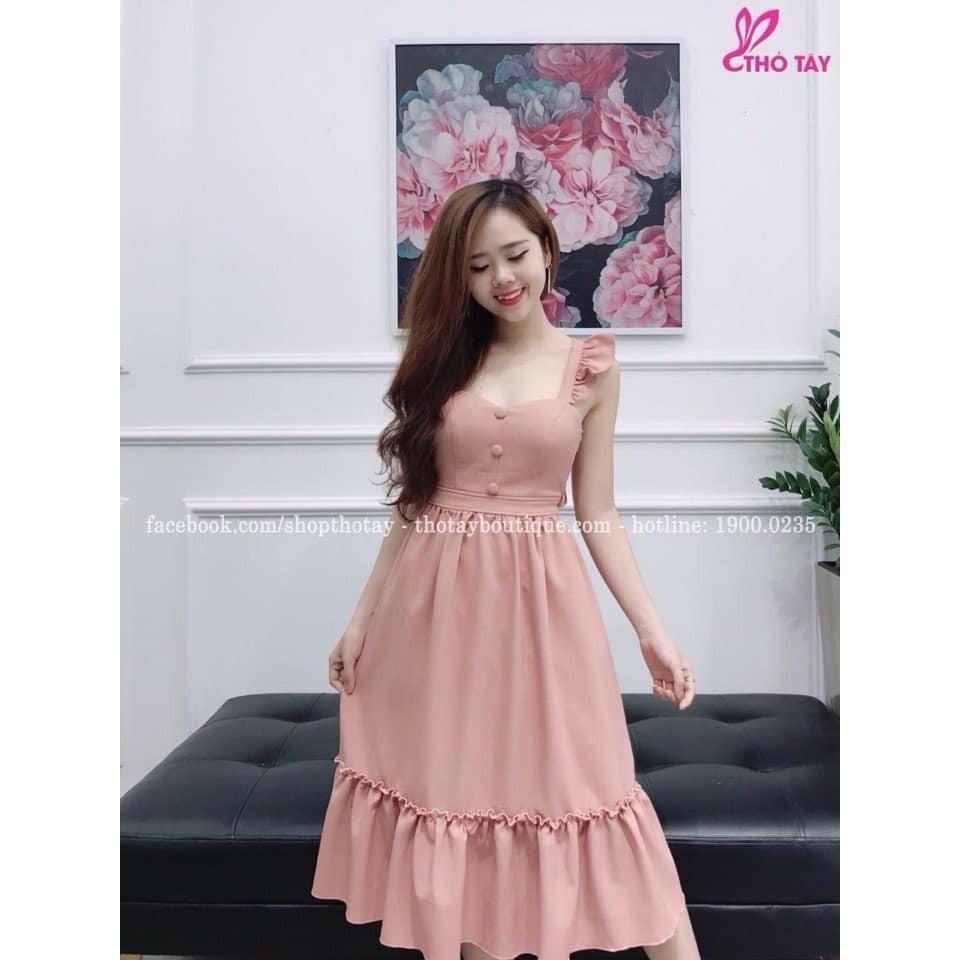 Đầm váy xòe đuôi cá đính nút