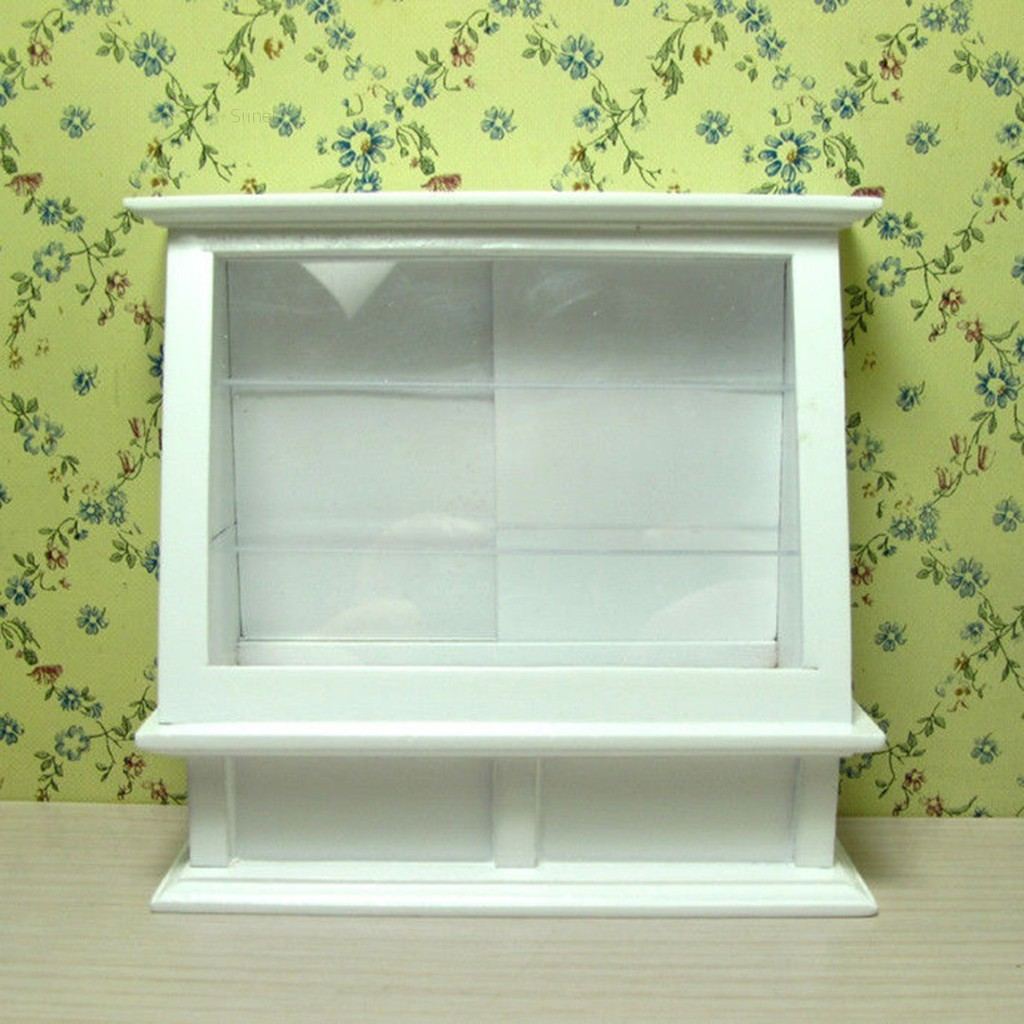 💗Sunei💗Miniature Wooden White Cake Display Showcase Display Cabinet For 1:12 Dollhouse