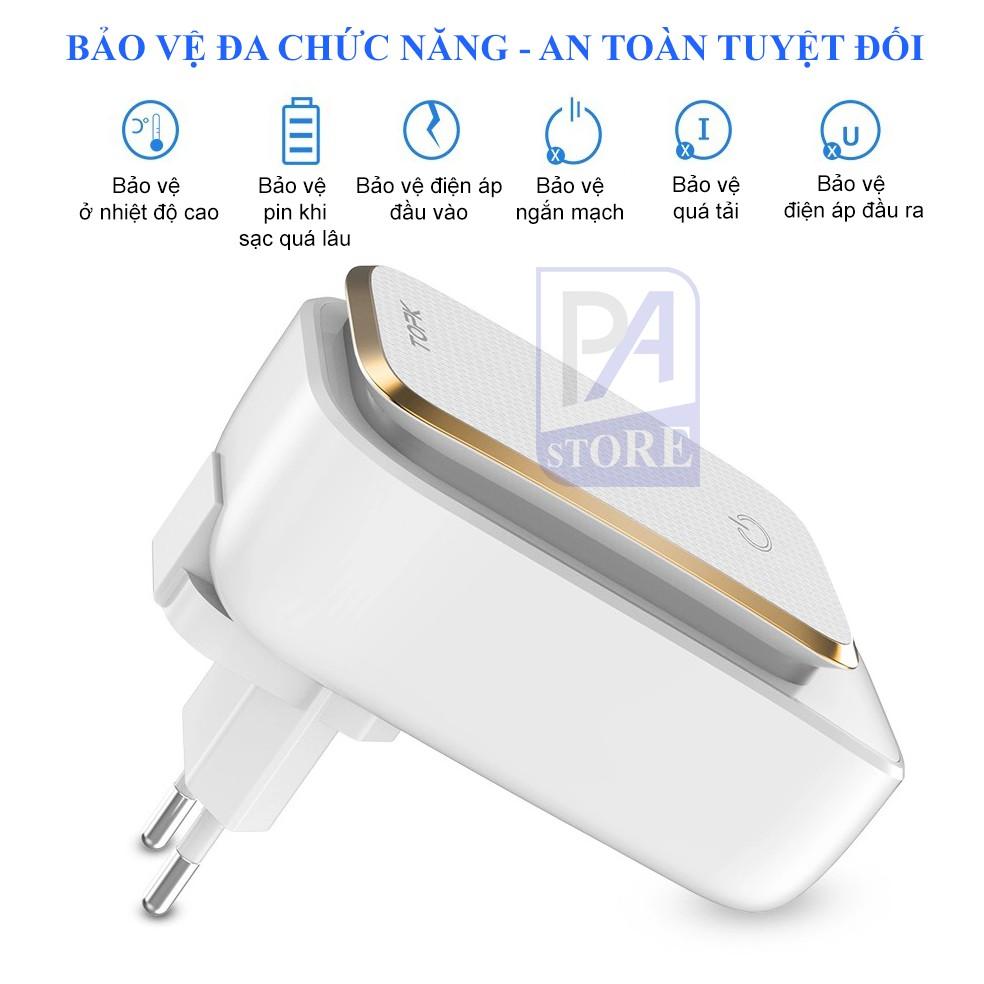 Củ Sạc Điện Thoại TOPK - 3 Cổng USB – Tích Hợp Đèn Ngủ Cảm Ứng