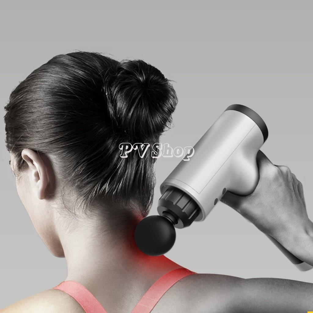 Súng Massage Cao Cấp 4 Đầu 6 Chế Độ Fascial - Máy masage toàn thân