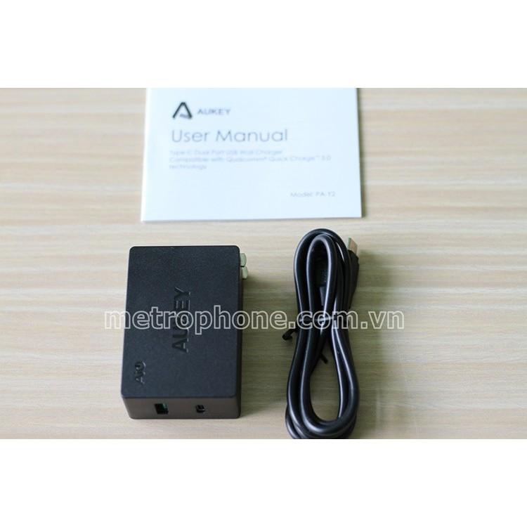 Củ sạc Aukey 2 cổng PA-Y2 Qualcomm QC 3.0 Type-C và USB