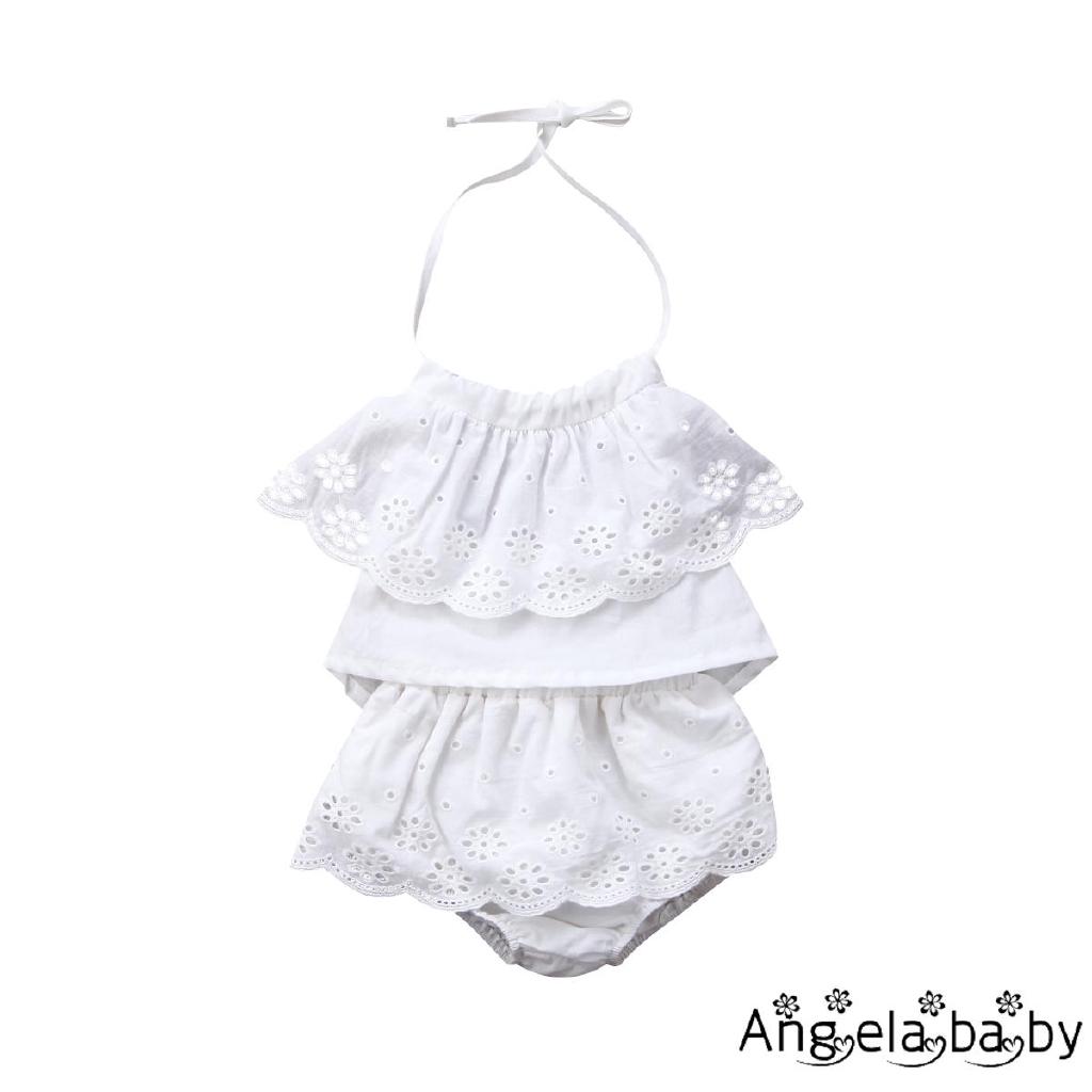 Áo cổ yếm và quần ngắn giả váy kiểu dáng xinh xắn cho bé gái