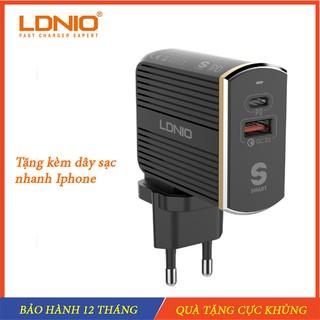 Bộ sạc PD Củ sạc nhanh 18 W tặng kèm cáp sạc Iphone chính hãng LDNIO – Hỗ trợ sạc nhanh PD và Q 3.0 Cho Iphone