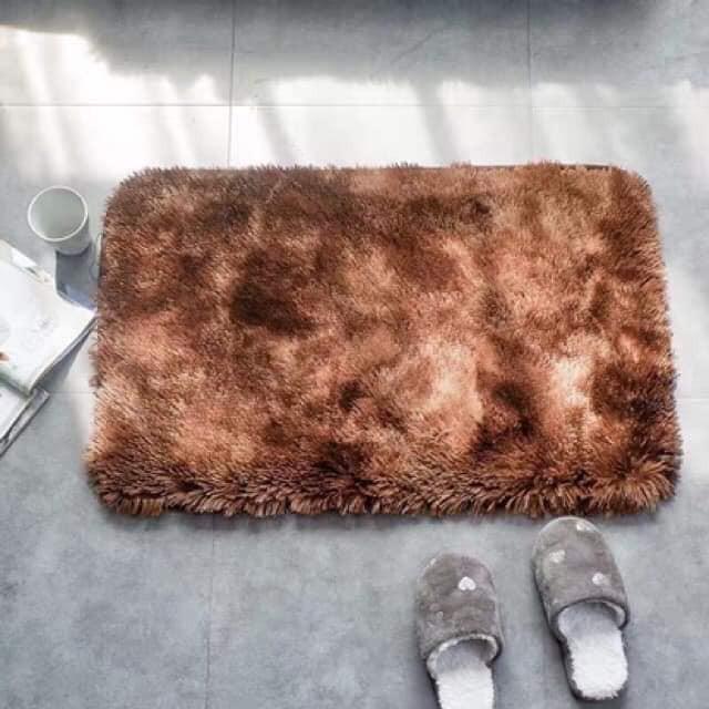 Thảm Lau Chân Trang Trí Lông Loang 40x60cm Giá Siêu Rẻ