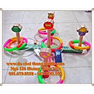 Thảy vòng trúng đích 5 cột gỗ to đẹp, có kèm vòng nhựa tháo ráp vòng 15 cm, thanh chéo 45 cm
