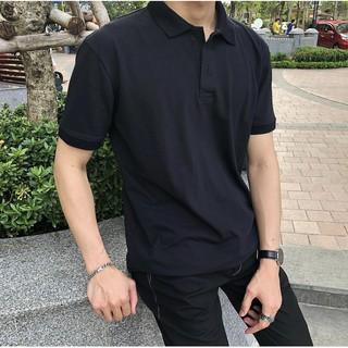 Áo Polo Nam, Áo Thun Có Cổ Nam Màu Đen Trơn Basic Dáng Ôm Vải Co Giãn, Thoáng Mát Phong Cách Hàn Quốc-A01