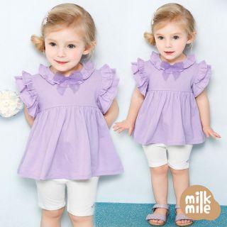 Bộ Milk Mile tím, cổ tròn đính nơ VNXK
