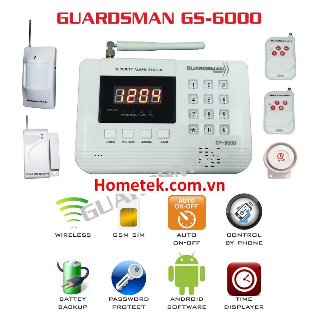 combo 1 bộ chống trộm dùng sim GS-6000, 2 cảm biến cửa từ và 2 cảm biến hồng ngoại 433 Mhz