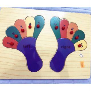 Bảng tập đếm số bàn tay và chân dành cho bé từ 2 tuổi