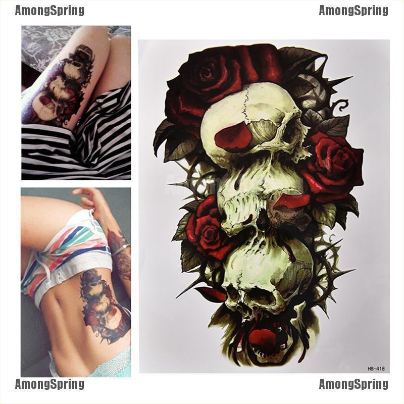 Amongspring❥ Waterproof Skull and Rose Temporary Tattoo Large Arm Body Art Tattoos Sticker,
