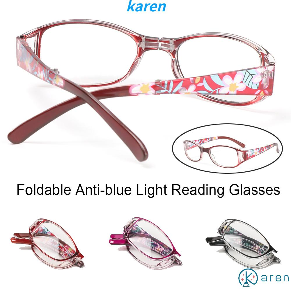 👗KAREN💍 Fashion Foldable Reading Eyeglasses Printing Computer Goggles Anti-blue Light Glasses Vision Care Vintage Classic Men Women Radiation Protection Folding Presbyopia Eyewear/Multicolor