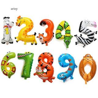 ♞Animal Number Foil Balloons Kids Party Birthday Wedding Décor Ballon Child Gift
