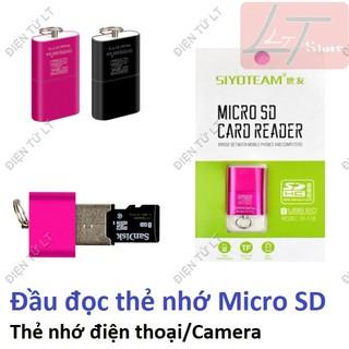 [Mã ELORDER5 giảm 10k đơn 20k] Đầu đọc thẻ nhớ microSD (thẻ nhớ điện thoại) Siêu nhỏ gọn Siyo Team T18