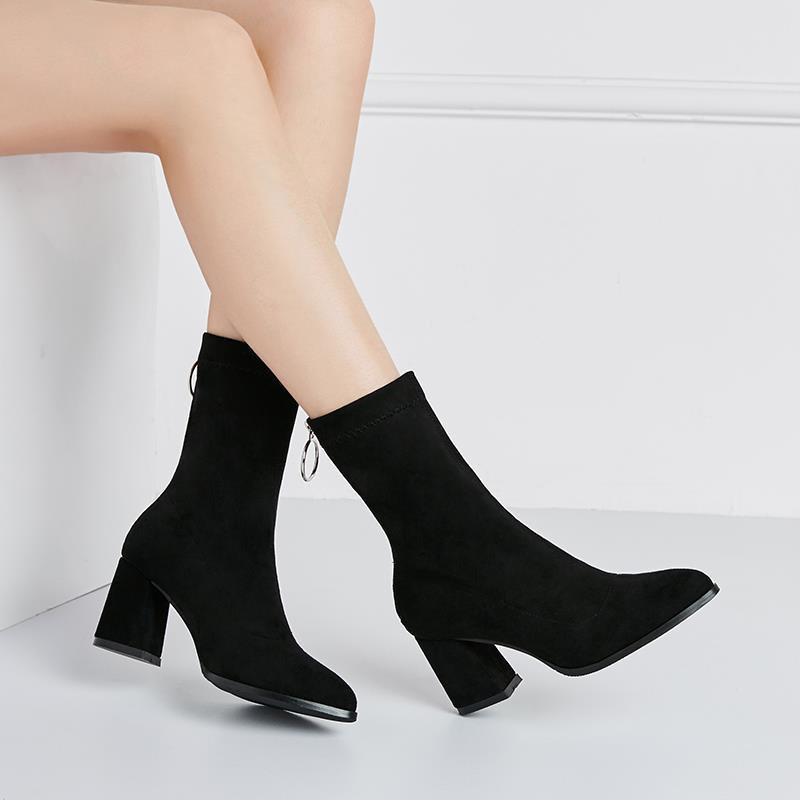 Giày cao gót mùa thu - giày nữ- boot nữ mùa đông - giày nhung cotton- giày ngắn nữ- Martin boot