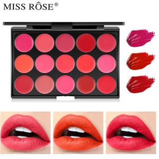 Bảng Son Lì Trang Điểm Miss Rose 15 Màu Chính Hãng, Mỹ Phẩm Makeup Chuyên Nghiệp, Lên Màu, Lâu Trôi, Dễ Sử Dụng thumbnail