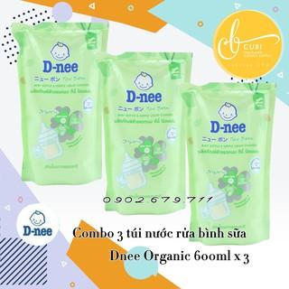 Bộ 3 túi nước rửa bình sữa Dnee Organic 600ML