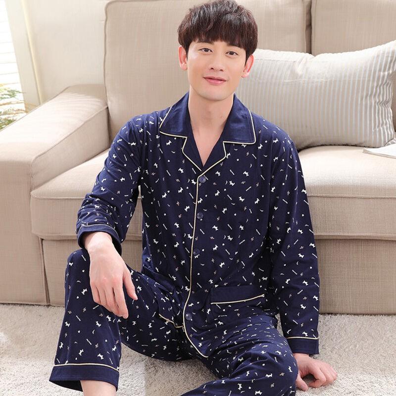 ชุดนอนเสื้อคาร์ดิแกนแขนยาวกางเกง 2 ชิ้น/ชุดสําหรับผู้ชาย