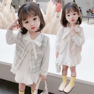 Set đầm dài tay + áo khoác họa tiết kẻ sọc không tay đáng yêu dành cho bé gái 2-5 tuổi