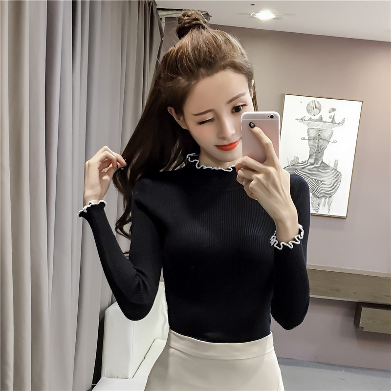 2018 autumn Korean version of the wooden ear half-high collar solid color knit b