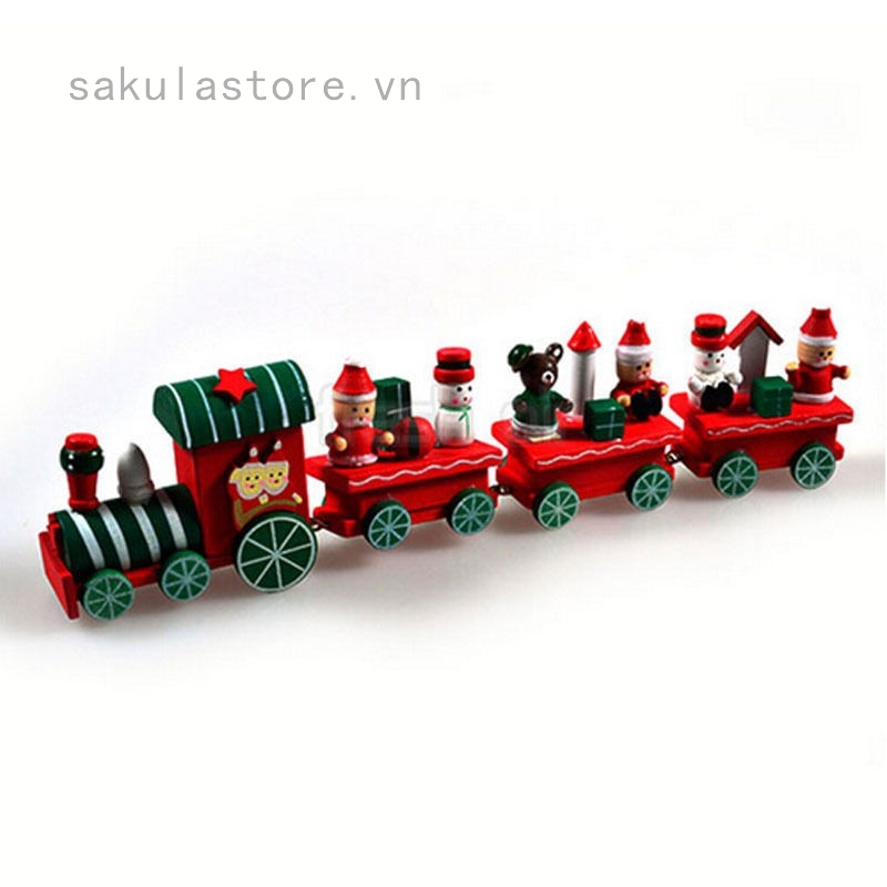 Mô hình tàu lửa bằng gỗ trang trí giáng sinh