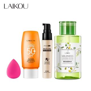 LAIKOU Make up Sunscreen 50g Liquid Foundation 30ml Remover 320ml Makeup Set