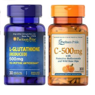 Combo viên uống trắng da L-Glutathione 500mg 30 viên và vitamin C 500mg 100 viên nén thumbnail