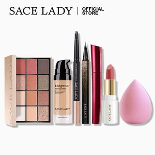 Bộ mỹ phẩm SACE LADY gồm son môi + bút kẻ mắt + kem nền + chì kẻ lông mày + bảng phấn mắt + mascara + mút tán phấn nền thumbnail