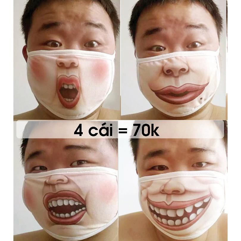 Khẩu Trang 3D Mặt Mập - Khẩu Trang hài hước - khẩu trang cười