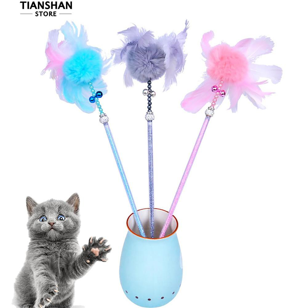 👍[COD] tianshan Pet Cat Feather Pompon Ball Rod Wand Play Interactive Toy