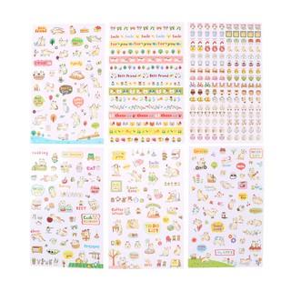 LOVEU* 6 Sheets Kawaii Cat Transparent Stickers Scrapbooking Craft Stickers Kids Toys