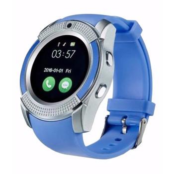 Đồng hồ thông minh V8 mặt tròn sang trọng - màu xanh nước biển - Đồng hồ thông minh V8