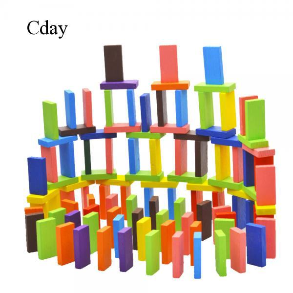 Cday 120x Domino Build Blocks Pine Wooden Toys Early Intelligence Educational Block