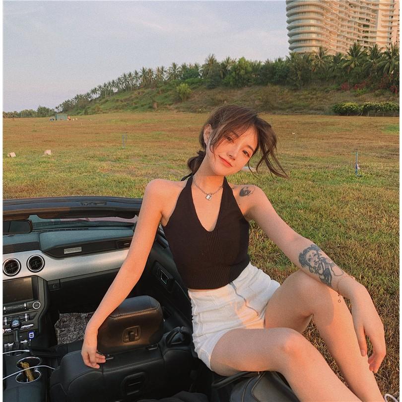 Mặc gì đẹp: Đẹp hơn với  Áo Croptop Dệt Kim Sát Nách Thiết Kế Cổ Chữ V Quyến Rũ Cho Nữ