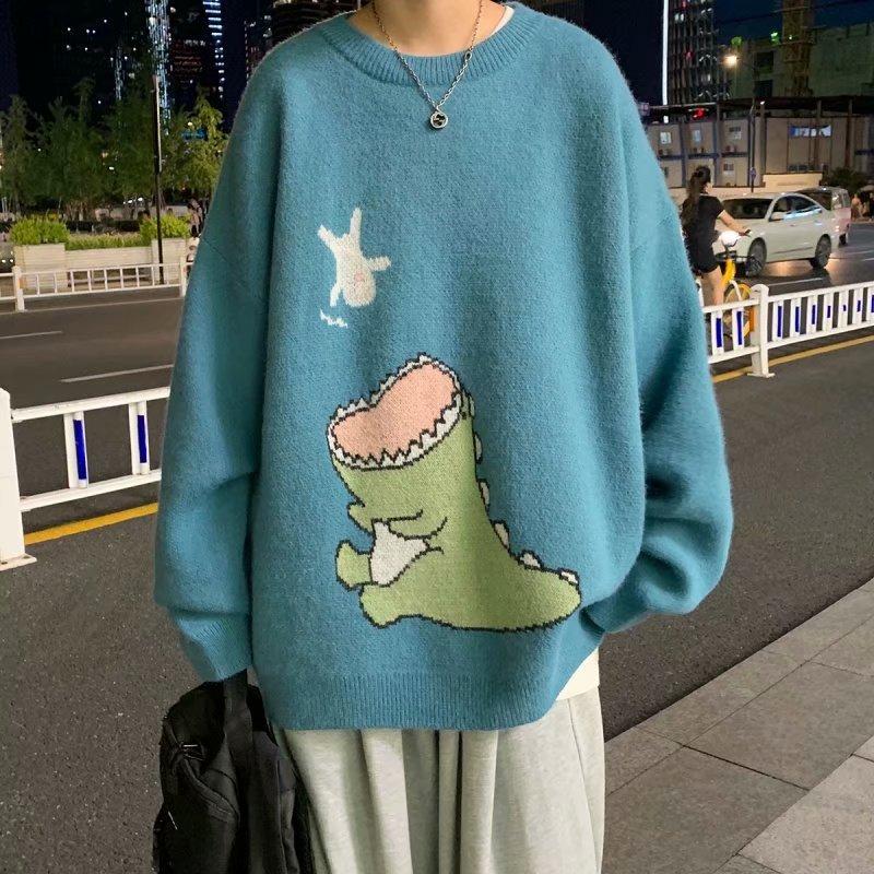 Áo Sweater Cổ Tròn Dáng Rộng In Hình Khủng Long Kiểu Hàn Quốc Thời Trang Mùa Thu Cho Nam