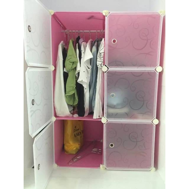 Tủ nhựa ghép 6 ô hồng phấn cửa trong