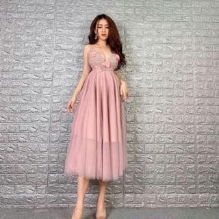 KÈM VIEO THẬT – Đầm xoè 2 dây kết hoa nổi phối ren -MS63V- Size M L đến 58kg